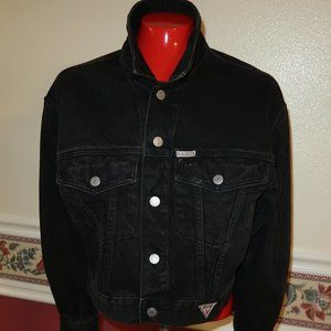 VINTAGE WOMENS GUESS JEANS BLACK DENIM JACKET SM